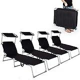 TecTake 4x Chaise longue bain de soleil avec parasol pare soleil noir