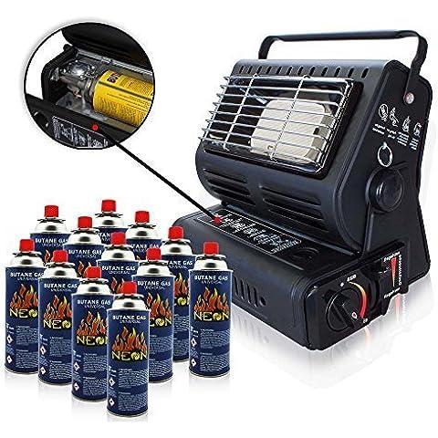 RSonic calefacción de gas cerámica radiador de gas calefacción para Tienda Outdoor caravana equipo de camping Cartuchos De Gas Butano para Parrilla Soplete de soldar Cocinilla de camping - Rsonic Calefacción De Gas, con 12