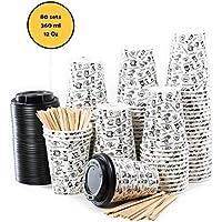 80 Vasos Desechables de Café Para Llevar - Vasos Carton 360 ml 12 Onzas con Tapas y Agitadores de Madera para Servir el Café, el Té, Bebidas Calientes y Frías