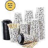 80 Pappbecher 360ml 12 Oz mit Deckel und Holz Rührstäbchen - Kaffeebecher To Go Zum Servieren von Kaffee, Tee, heißen und kalten Getränken
