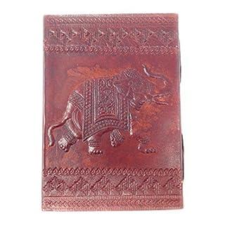 Notizbuch AGAS OWN Echtes Leder | Handgeschöpftes Papier Nachfüllbare Seiten | Recyclebar | Traditionelles Lederaccessoire (Elefant, L)