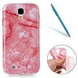 CLTPY Galaxy S4 Hülle, Samsung Galaxy S4 Handytasche Ultradünn Pink Marble TPU Transparent Weich Protektiv Back Cover für 5.0