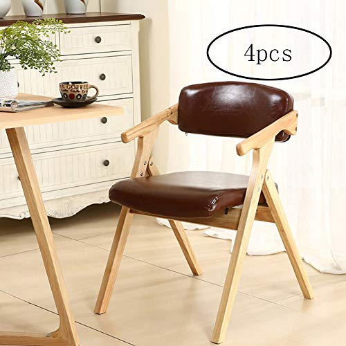 XUE Faltstuhl, Simple Modern Home Faltbare Washable Dining Chair Backrest Garden Chair Casual Computer Chair for Events Parties Multi-Purpose Sqaured (Carton of 4),A