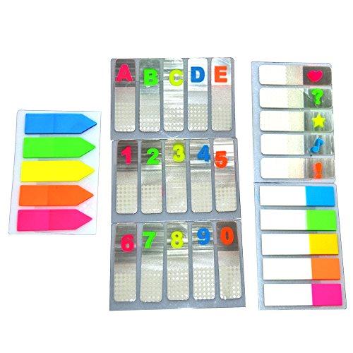 600 Stück bunte Kunststoff Haftmarker mit Zahlen, Buchstaben, Pfeilen, Herz, Fragezeichen, Ausrufezeichen, Noten, Stern,