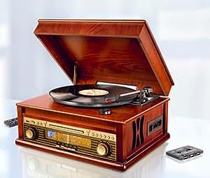 nostalgie Plaque de sonorisation avec lecteur CD USB MP3Joueurs Cassette et radio–Encodage USB 5486303