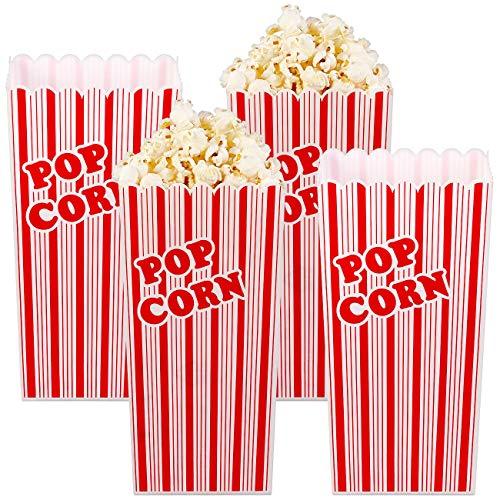 infactory Popcorn Becher: 4er-Set Wiederverwendbare Popcorn-Boxen, 2 Liter, rot-weiß gestreift (Popcornbox)
