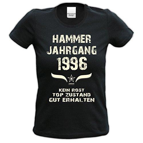 Modisches 21. Jahre Girlie Damen-Oberteil zum Geburtstag Hammer Jahrgang 1996 Farbe: schwarz Schwarz