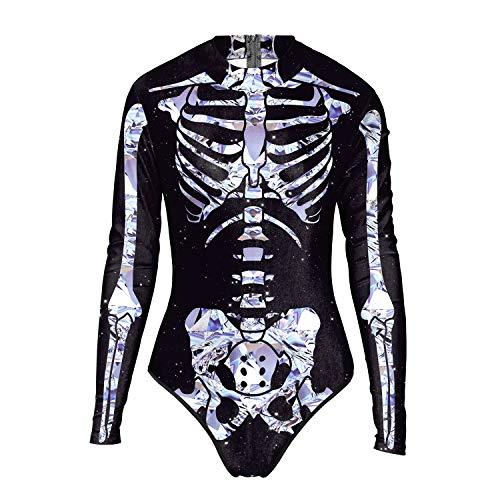 URVIP Damen Skelett Knochen Schick Kleid Lange Ärmel Skelett Druck Halloween Party Bodysuit Top WB120-004 S/M