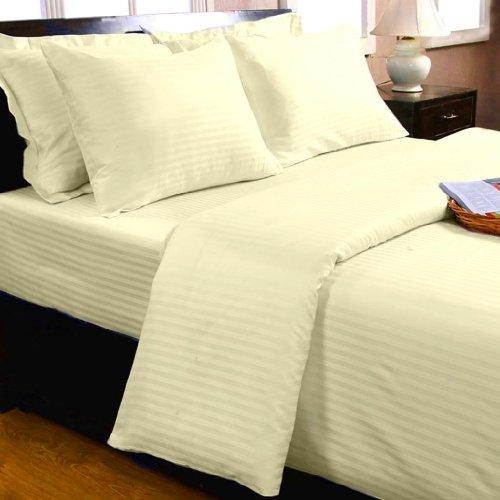 Homescapes 2 teilige Damast Bettwäsche 155 x 200 cm vanille 100% ägyptische Baumwolle Fadendichte 330
