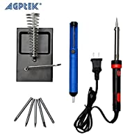 Solder Kit : AGPtek 8 in 1 60W 110V Pencil Handle Electric Soldering Iron Kit with 5 Iron Tips and Solder Sucker