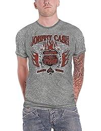 Johnny Cash T Shirt Distressed Ring of Fire Logo offiziell Herren Nue Grau