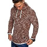 KEERADS Herren Basic Kapuzenpullover Pullover Sweatjacke Hoodie Sweatshirt (L, Khaki Melierung)