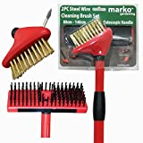 Marko Gardening 2pc Steel Wire Cleaning Brush Set Patio Decking Garden Paths Weed Removal Tools (1) - Marko Gardening - amazon.co.uk