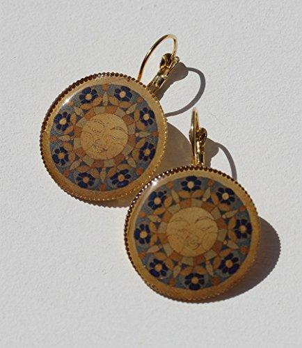 (ISLA DEL SOL Ohrringe 2-102 Sonne Sonnenschein Mandala Damen Designer Schmuck blau gelb golden Maya Inka Brisuren festlich Licht Islas de la Luz)