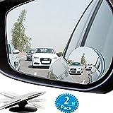 forepin 2pcs konvexen Toter Winkel Spiegel, Round HD Glass 360 Grad Rotation Verstellbar Rückspiegel für Universalfahrzeug, Autos, SUV