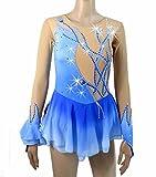 Heart&M Eiskunstlauf-Kleid für Mädchen, Eiskunstlauf-Wettbewerb Kostüm Kristalle Eis-Eiskunstlauf-Kleid Blau, 16