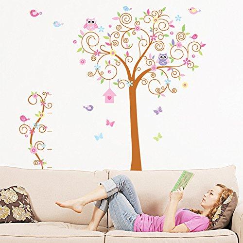 wallpark-grand-dessin-anime-mignon-hibou-papillon-colore-fleur-arbre-amovible-stickers-muraux-autoco