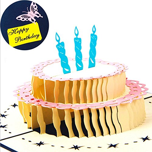 Grußkarte, blanko Grußkarten 3D Pop up Weihnachtskarten Hohl Kuchen, Grußkarte Geburtstag Geschenk Kleine Karte xiyunte 1, blau, 15.5*13CM (Lehrer-abschluss-einladungen)