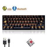 UrChoiceLtd Mechanische Tastatur RK61 USB oder kabellos per Bluetooth, 61 Tasten mit LED, Quickfire Tasten, wasserdicht, mit Anti-Ghosting-Tasten und Cap-Puller-Tasten, für Gamer und Schreibkräfte