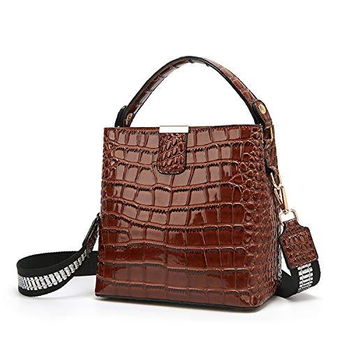 Krokodilleder Umhängetaschen Luxus Handtasche Damen Taschen Designer Umhängetaschen Marke Bucket Bag Tote-in Top, Braun, 21,5x21x12cm -