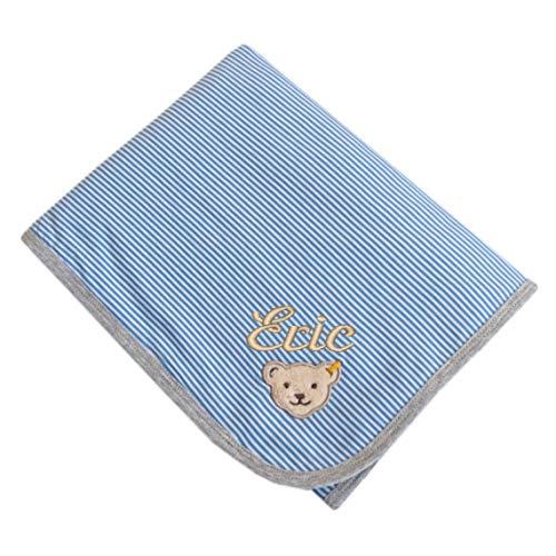 Steiff Jerseydecke mit Namen bestickt blau weiß gestreift 90 cm x 60 cm personalisierte Namensdecke marina blue und grau meliert - Gestreifte Weiße Decke