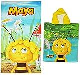 Unbekannt 2 TLG. Set _ Badetuch + Badeponcho -  Biene Maja  - 70 cm * 140 cm Handtuch - Strandtuch - 100 % Baumwolle - Jungen & Mädchen - 70x140 für Kinder - Erwachse..