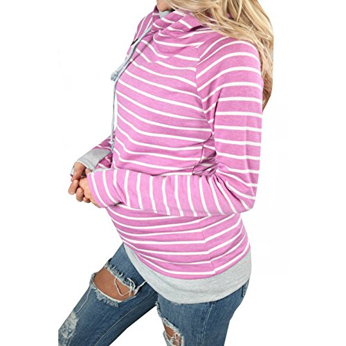 Sweat à manches longues femme Pull - hibote Mode Automne rayé Vêtements Casual Tops Violet