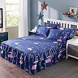 Querbehang Bed Sheet Double Single Tagesdecke Spannbetttuch 100% Baumwolle Tagesdecke Schutz Sleeve 18Styles für 1,2/1,5/1,8/2M Bett (+ 2Kissenbezüge), a, 180x200cm