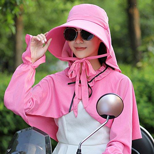 GAOQIANGFENG Im Sommer Freizeitaktivitäten hut Hut weiblichen Flut entlang der Sonnenblende Gesicht, Elektroauto, einem Anzug [Hut Schal], Rose rot