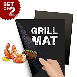 (2er SET) ORIGINAL FLAMEN Grillmatte mit ANTIHAFT aus TEFLON, PERFEKTE GRILLSCHALE für INDOOR u. OUTDOOR, BBQ, GRILL, BACKEN u. MEHR, Backmatte u. SEHR ROBUSTE Grillmatte in TOP QUALITÄT