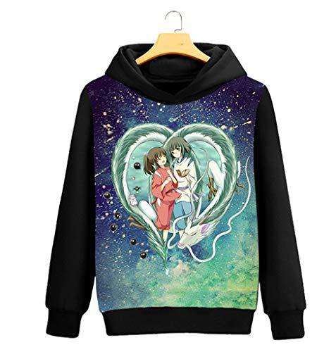 Chihiro Cosplay Kostüm - Cosstars Spirited Away Anime Kapuzenpullover Sweatshirt Cosplay Kostüm Hoodie Mantel Pulli Sweater Schwarz 2 S