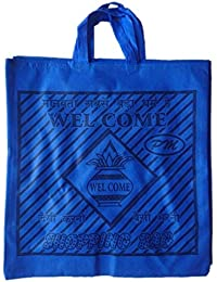 """PM Welcome Non Woven Shopping Bag (SIZE: 15"""" X 15""""-Inches) Blue - 24 Pcs."""