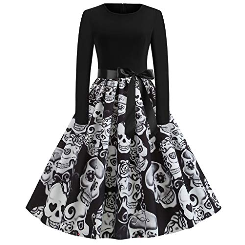 Fresofy Damen Happy Halloween Frauen Langarm O Hals Druck Vintage Kleid Party Clubbing Karneval eleganten Kleid Rock