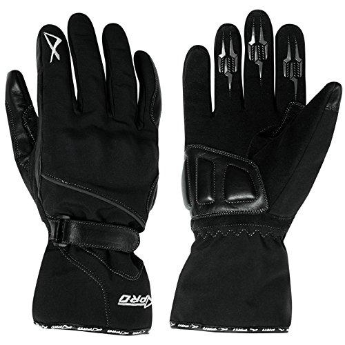 A-Pro Guanto Moto Invernale Impermeabile Tessuto Inserti Pelle Protezioni Nero L