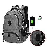 Neuleben Wasserabweisend Rucksack mit USB Port Business Laptoprucksack für 15,6 Zoll Schulrucksack für Damen Herren (Grau)