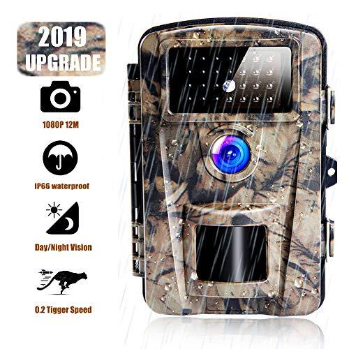 Caméra de Chasse 12MP 1080P Caméra de Surveillance HD Étanche Vision Nocturne Infrarouge IP66 Grand 0.6s Déclenchant IR Caméra de Jeu