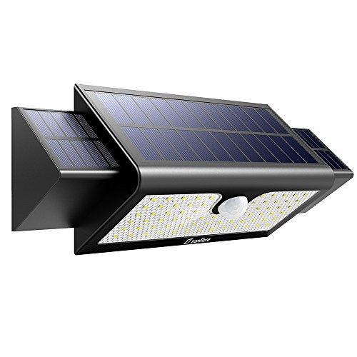 Zanflare Lámpara Solar con Sensor de Movimiento 71 LED Luz, Lámpara de Panel Solar Movimiento y Energía Solar Impermeable Luminosa Seguridad al Aire Libre,batería: 2 * 2600 18650.
