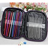Aeoss 22 Pc/Set Multi Stainless Steel Tool Set Needles Crochet Hooks Needles Knitting Yarn Craft Kit with Case