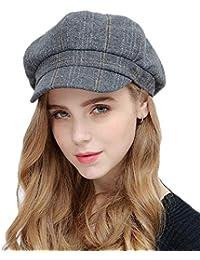 edf99f663278c Lannister Fashion Peaked Cap Elegante Gorra De Boina para Mujer Negro Warme  Gris Verde Gorra con