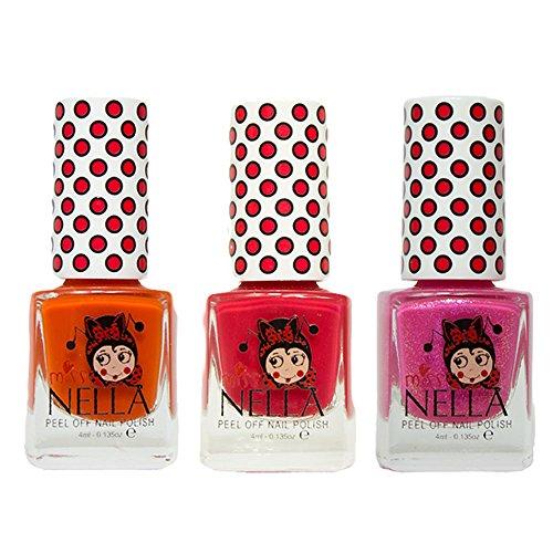 Miss Nella Poppy Fields, Strawberry Creme, Tickle Me Pink spezielle Glitzer Kinder Nagellack mit Peel Off auf Wasserbasis Formel -