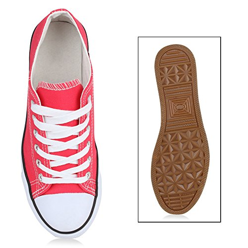 Sportliche Damen Sneakers Kult Nieten Flach Schnürer Schuhe Coral 66fSSfXQ41