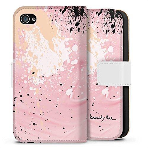 Apple iPhone X Silikon Hülle Case Schutzhülle Farbklecks Muster Bunt Sideflip Tasche weiß