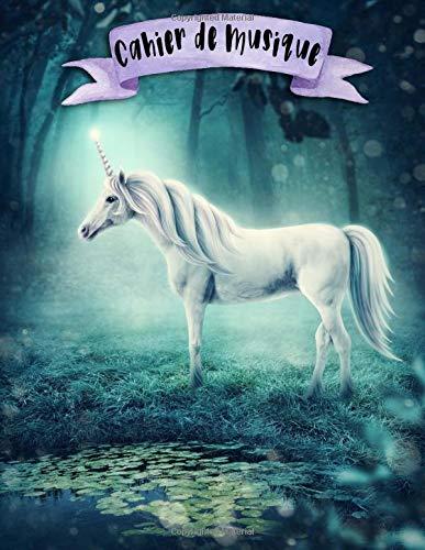 Cahier de Musique: A4 -108 pages - 12 portées par pages - Licorne - Unicorns Musicbook - couverture souple glossy - musique - chant - musicien - compostion par  Mes Notebooks Licorne