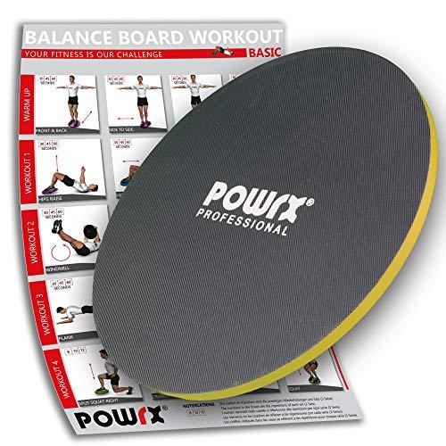 POWRX Balance Board Wackelbrett Aus Holz 45/50 cm | Therapie-Kreisel Für Propriozeptives Training Und Physiotherapie (50 cm)
