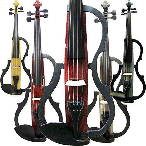 aliyes handgefertigt Silent Elektrische Violine 4/4voller Größe Professional Student Violine für Anfänger Massivholz Violine Kit String, Schulterstütze, Kolophonium SDDS-E604 (Weiße Geige In Voller Größe)
