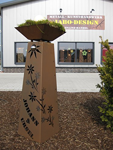 Jabo Design Rost Säule + Schale konisch RS95 + S11 Ihr EIGENER Name Garten Rostsäulen Blumensäule Deko Rostsäule