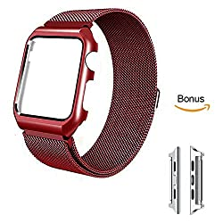 [Changeable] Apple Watch Series 3 Strap 38mm Milanese Stainless Steel With Protective Case Apple Watch Strap 38mm With Upgraded Apple Watch Adapter For All 38mm Apple Watch Series 3 & Series 2 & Series 1 Version