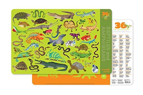 Crocodile Creek 2843-1 36 Animals/Reptiles & Amphibians 2-Sided Platzset, Green/Orange/Red/Purple -