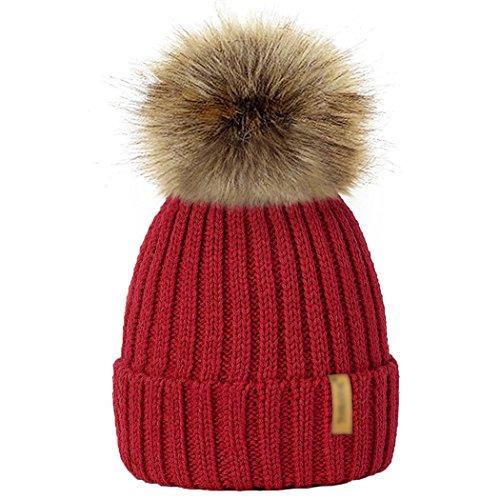 Beanie Mit Rote Pom (MIOIM Baby kinder Mädchen Jungen Strickmütz Mütze Bommelmütze Winter-Mütze Winter Warm Ski Hüte Beanie mit Fellbommel Rot)