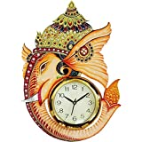 Dinine Craft Wooden Wall Clock For Home Latest Bird Design For Living Room Decorative Wall Clock 13X13 Inch (Multi Color Ganesh)